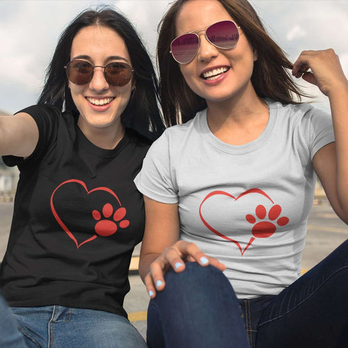 Designs by MyUtopia Shout Out:Heart Dog Paw Ladies Ultra Cotton Round Neck T-Shirt