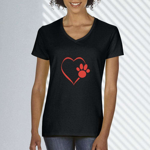 Designs by MyUtopia Shout Out:Heart Dog Paw Ladies Ultra Cotton V-Neck T-Shirt