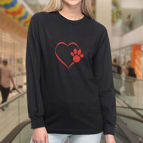 Designs by MyUtopia Shout Out:Heart Dog Paw Long Sleeve Ultra Cotton T-Shirt