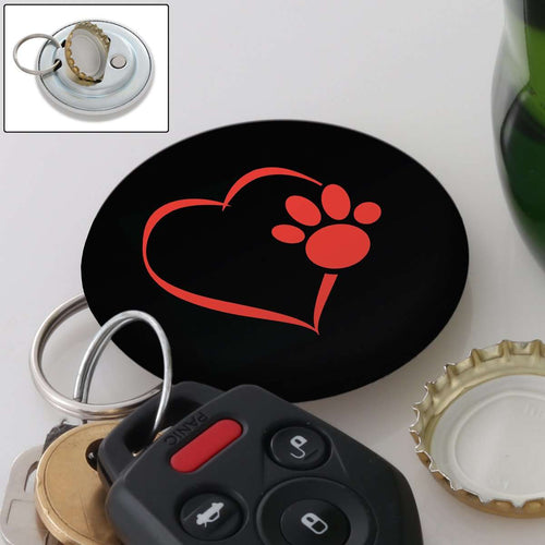 Designs by MyUtopia Shout Out:Heart Dog Paw Magnetic Key chain and bottle opener