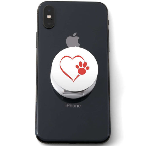Designs by MyUtopia Shout Out:Heart Dog Paw (White) Hinged Phone Grip and Stand for Smartphones and Tablets
