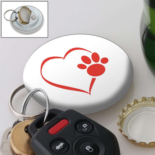 Designs by MyUtopia Shout Out:Heart Dog Paw (White) Magnetic Key chain and bottle opener