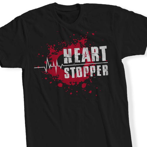 Designs by MyUtopia Shout Out:Heart Stopper - T Shirt,Short Sleeve / Black / Small,Adult Unisex T-Shirt