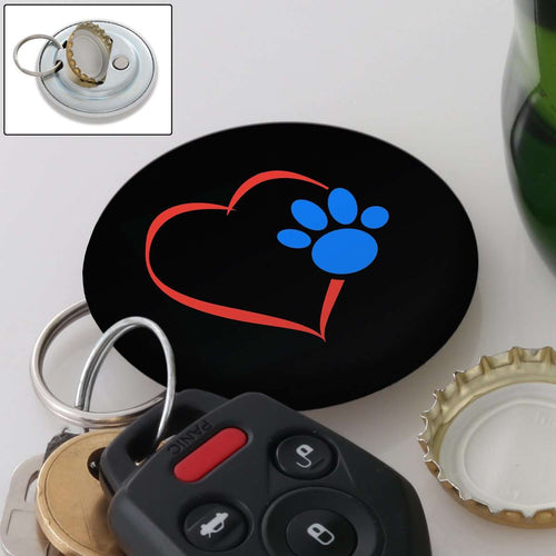 Designs by MyUtopia Shout Out:Heart w. Blue Dog Paw Magnetic Key chain and bottle opener