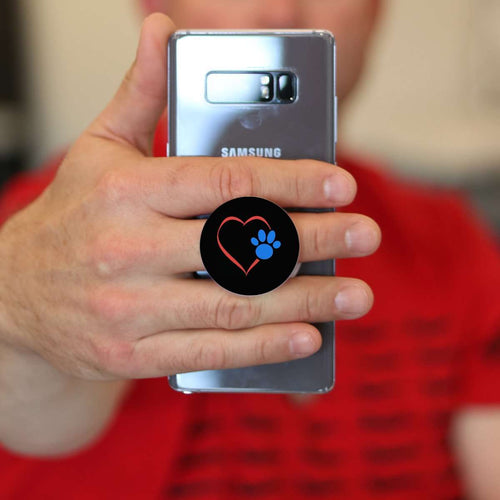 Designs by MyUtopia Shout Out:Heart w Blue Dog Paw (on Black) Hinged Phone Grip and Stand for Smartphones and Tablets