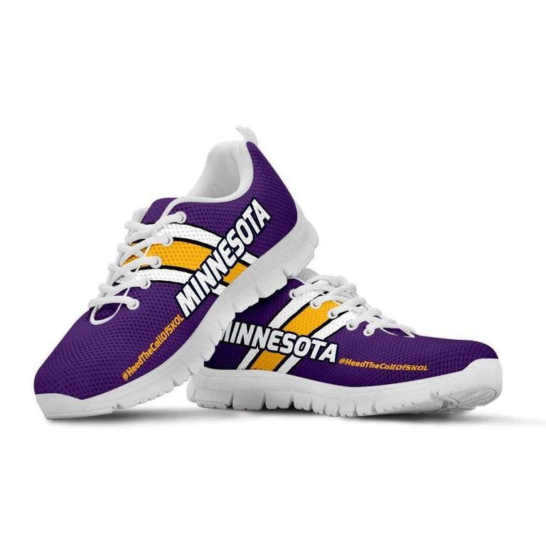 Designs by MyUtopia Shout Out:#HeedTheCallOfSkol Minnesota Fan Running Shoes,Kid's / 11 CHILD (EU28) / Violet,Running Shoes