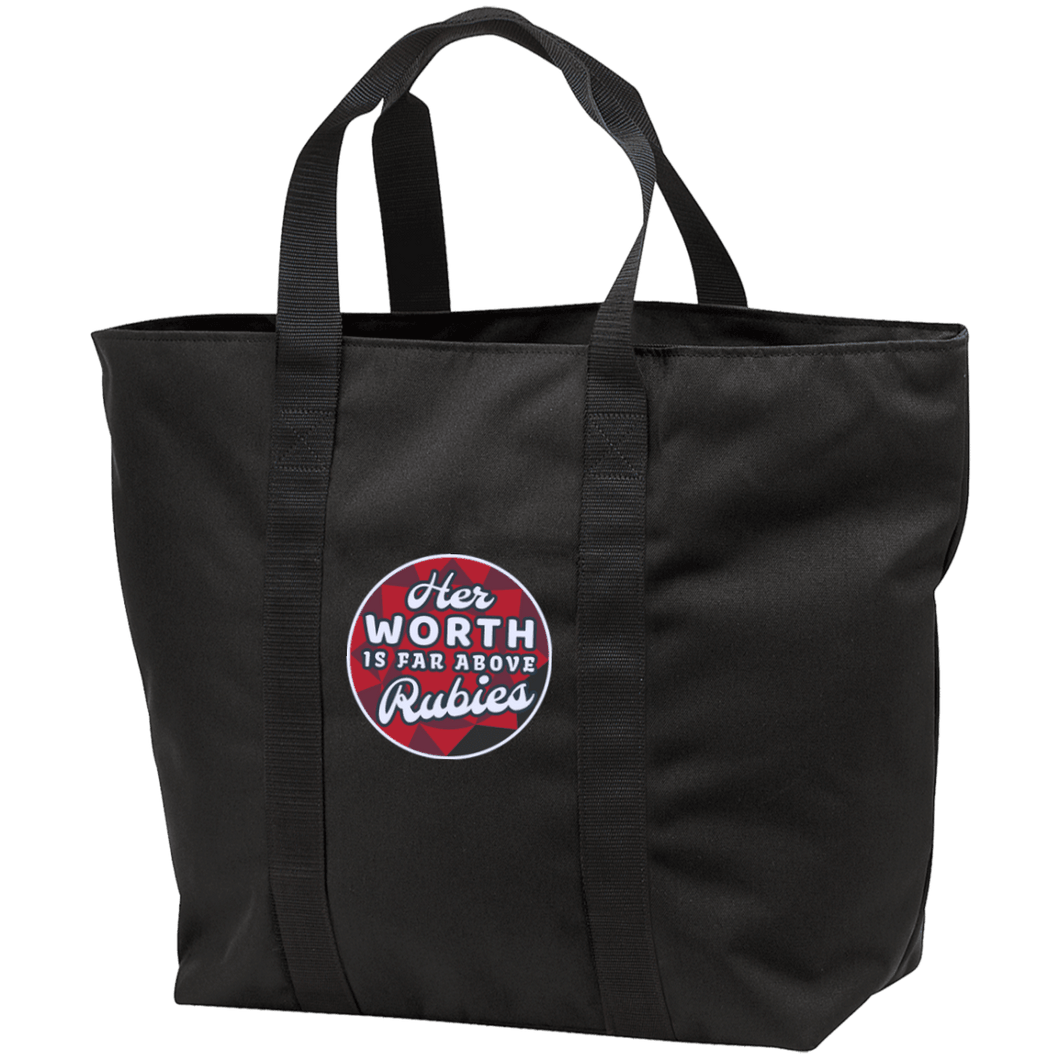 Designs by MyUtopia Shout Out:Her Worth Is Far Above Rubies Embroidered All Purpose Tote Bag w Zipper Closure and side pocket,Black/Black / One Size,Totebag