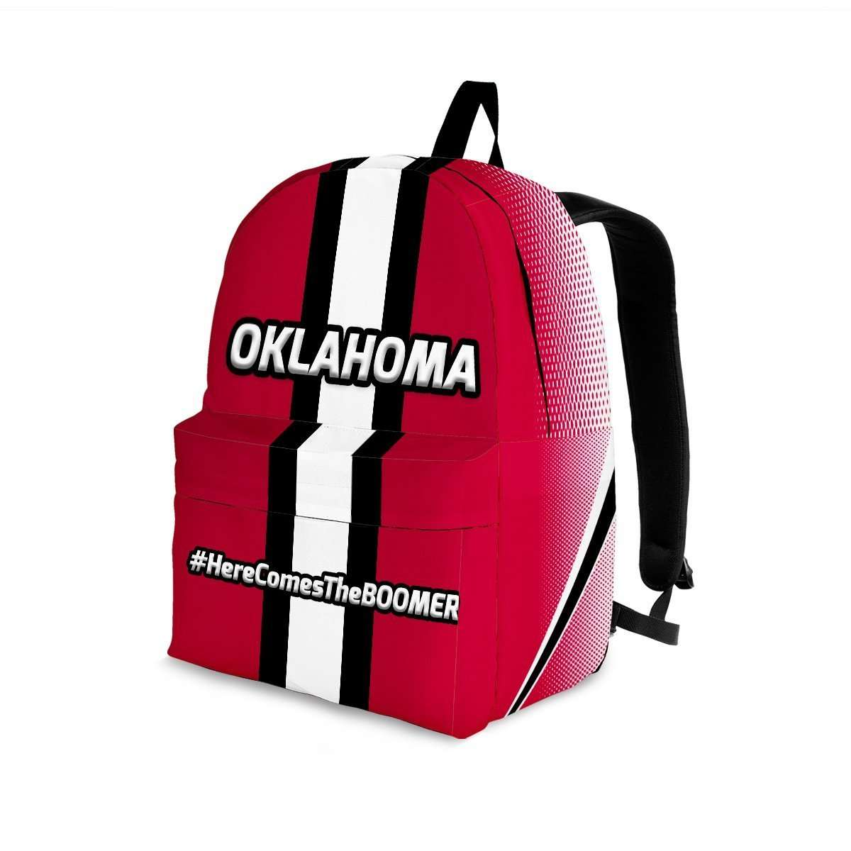 Designs by MyUtopia Shout Out:#HereComesTheBoomer Oklahoma Backpack,Large (18 x 14 x 8 inches) / Adult (Ages 13+) / Red,Backpacks