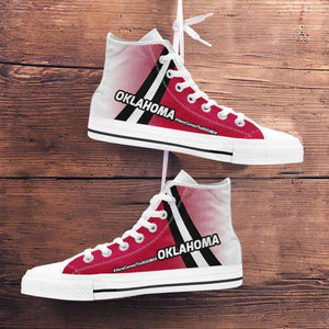 Designs by MyUtopia Shout Out:#HereComesTheBoomer Oklahoma Canvas High Top Shoes,Men's / Mens US 5 (EU38) / Red/White/Black,High Top Sneakers