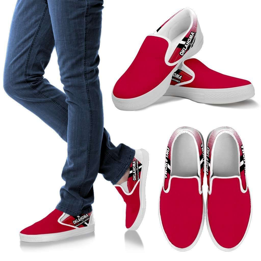 Designs by MyUtopia Shout Out:#HereComesTheBoomer Oklahoma Slip-on Shoes,Men's / Mens US8 (EU40) / Red,Slip on sneakers