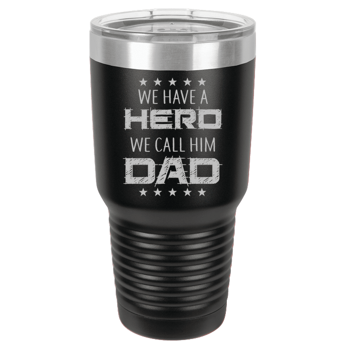 Designs by MyUtopia Shout Out:Hero Dad Polar Camel 30 oz Engraved Insulated Double Wall Steel Tumbler Travel Mug,Black,Polar Camel Tumbler