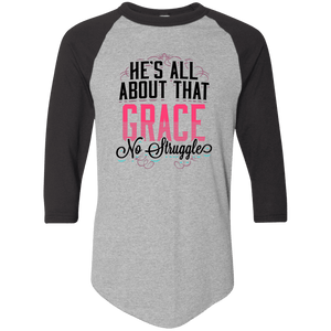 Designs by MyUtopia Shout Out:He's All About That Grace 3/4 Length Sleeve Color block Raglan Jersey T-Shirt,Athletic Heather/Black / S,Long Sleeve T-Shirts