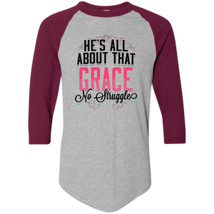Designs by MyUtopia Shout Out:He's All About That Grace 3/4 Length Sleeve Color block Raglan Jersey T-Shirt,Athletic Heather/Maroon / S,Long Sleeve T-Shirts
