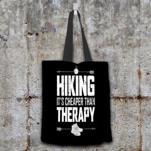 Designs by MyUtopia Shout Out:Hiking Cheaper Than Therapy Fabric Totebag Reusable Shopping Tote