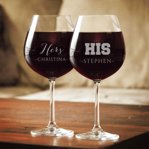Designs by MyUtopia Shout Out:His & Hers Wine Glass set (Pair) Personalized Engraved