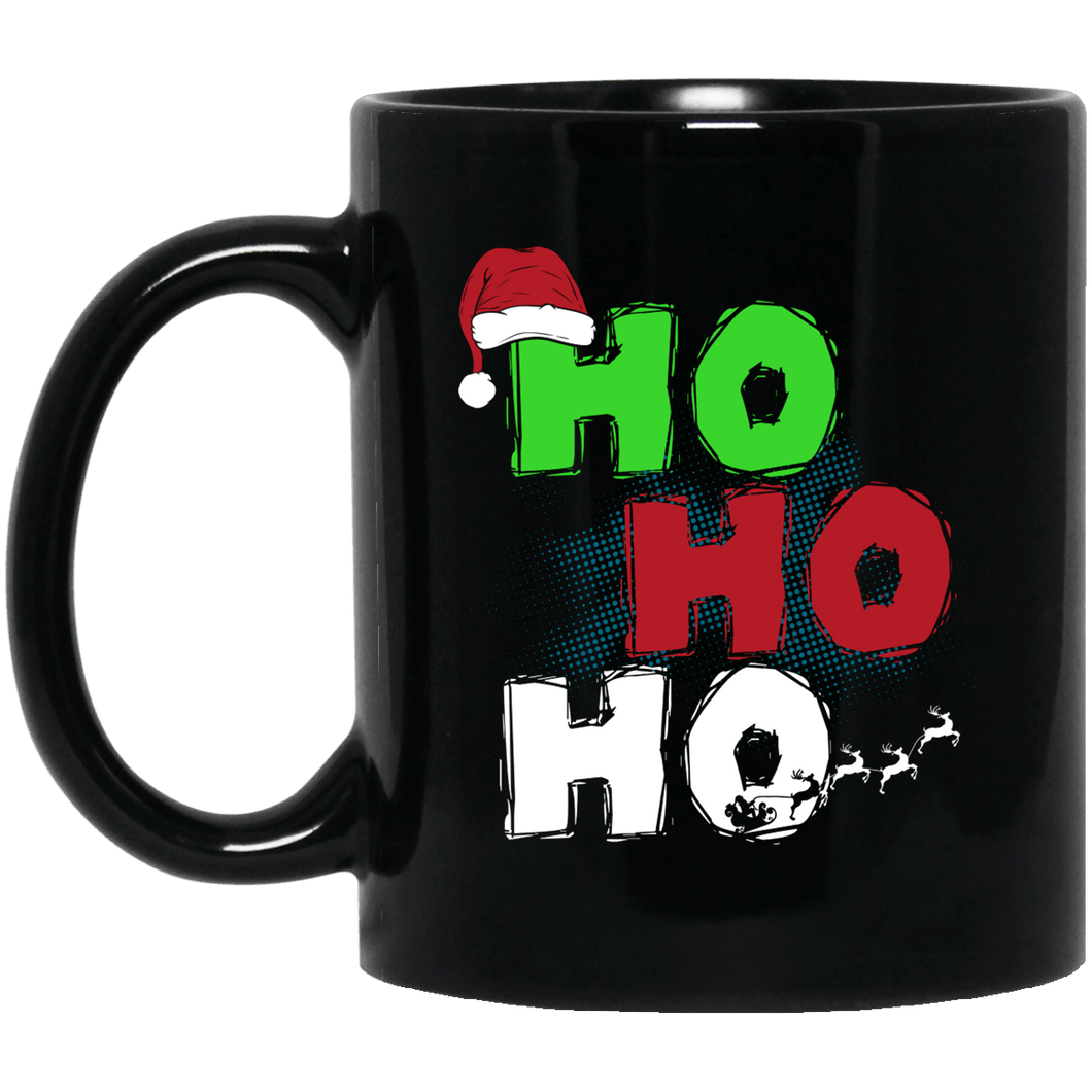 Designs by MyUtopia Shout Out:Ho Ho Ho - Christmas Ceramic Coffee Mug - Black,Black / 11 oz,Apparel