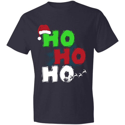 Designs by MyUtopia Shout Out:Ho Ho Ho - Christmas Lightweight Unisex T-Shirt,Navy / S,Adult Unisex T-Shirt