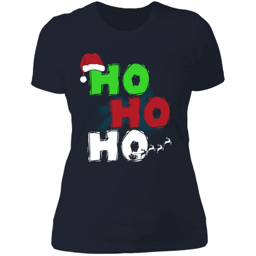 Designs by MyUtopia Shout Out:Ho Ho Ho - Christmas Ultra Cotton Ladies' T-Shirt,Midnight Navy / X-Small,Ladies T-Shirts