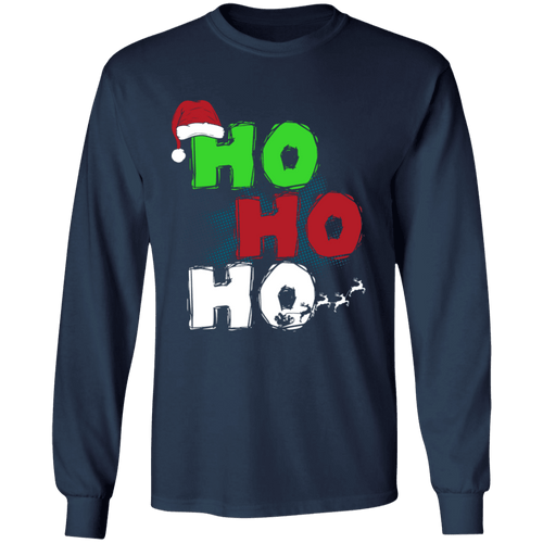 Designs by MyUtopia Shout Out:Ho Ho Ho - Christmas Ultra Cotton Long Sleeve T-Shirt,Navy / S,Long Sleeve T-Shirts
