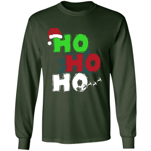 Designs by MyUtopia Shout Out:Ho Ho Ho - Christmas Ultra Cotton Long Sleeve T-Shirt,Forest Green / S,Long Sleeve T-Shirts