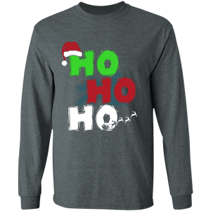 Designs by MyUtopia Shout Out:Ho Ho Ho - Christmas Ultra Cotton Long Sleeve T-Shirt,Dark Heather / S,Long Sleeve T-Shirts