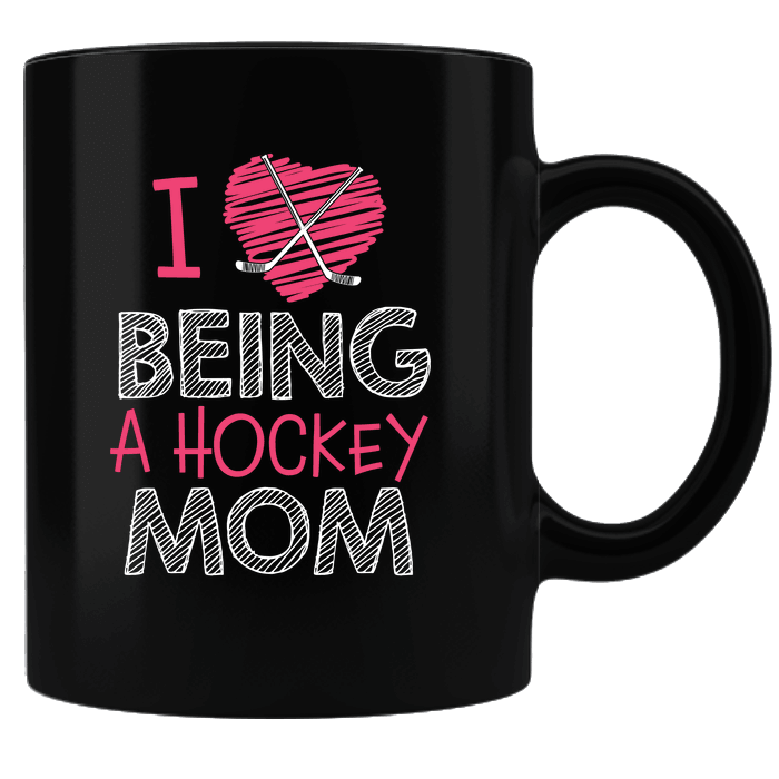 Designs by MyUtopia Shout Out:Hockey Mom Black Ceramic Coffee Mug,Black,Ceramic Coffee Mug