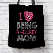Load image into Gallery viewer, Designs by MyUtopia Shout Out:Hockey Mom Fabric Totebag Reusable Shopping Tote