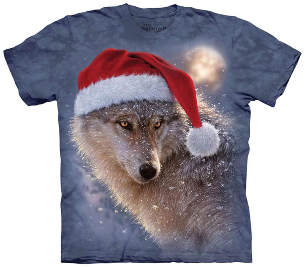 Designs by MyUtopia Shout Out:Holiday Wolf in the Snow Wearing a Santa Hat Tee Shirt by The Mountain,Small / Grey,Adult Unisex T-Shirt