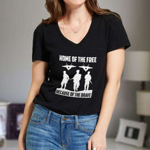 Load image into Gallery viewer, Designs by MyUtopia Shout Out:Home of the Free Because of the Brave Ladies' V-Neck T-Shirt