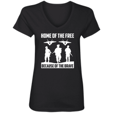 Load image into Gallery viewer, Designs by MyUtopia Shout Out:Home of the Free Because of the Brave Ladies' V-Neck T-Shirt,S / Black,Ladies T-Shirts