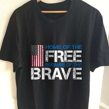 Load image into Gallery viewer, Designs by MyUtopia Shout Out:Home of the Free Because of the Brave US Flag Adult Unisex T-Shirt,S / Black,Adult Unisex T-Shirt