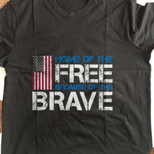 Load image into Gallery viewer, Designs by MyUtopia Shout Out:Home of the Free Because of the Brave US Flag Adult Unisex T-Shirt