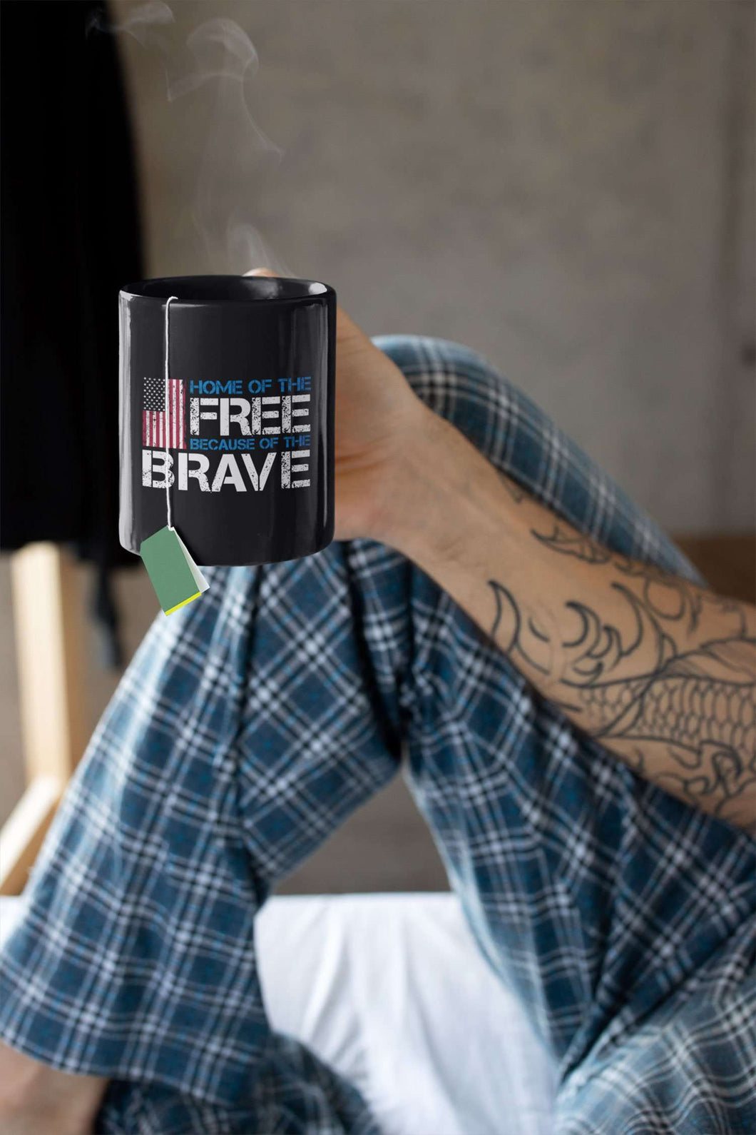 Designs by MyUtopia Shout Out:Home of the Free Because of the Brave US Flag Ceramic Coffee Mug - Black