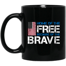 Load image into Gallery viewer, Designs by MyUtopia Shout Out:Home of the Free Because of the Brave US Flag Ceramic Coffee Mug - Black,11 oz / Black,Ceramic Coffee Mug
