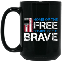 Load image into Gallery viewer, Designs by MyUtopia Shout Out:Home of the Free Because of the Brave US Flag Ceramic Coffee Mug - Black,15 oz / Black,Ceramic Coffee Mug