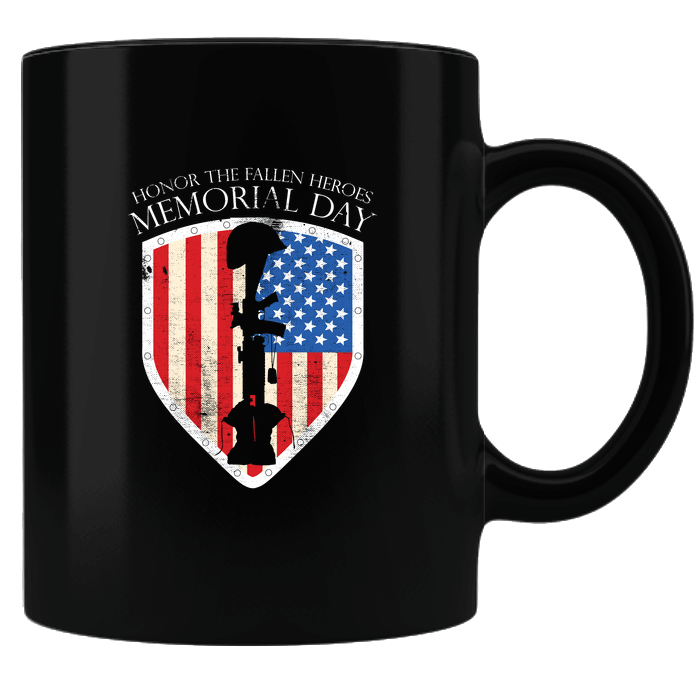 Designs by MyUtopia Shout Out:Honor The Fallen Heroes Black Ceramic Coffee Mug,Black,Ceramic Coffee Mug
