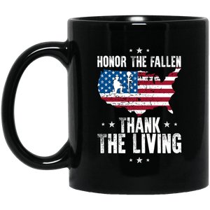 Designs by MyUtopia Shout Out:Honor The Fallen Thank The Living Memorial Day Ceramic Coffee Mug,11 oz / Black,Ceramic Coffee Mug