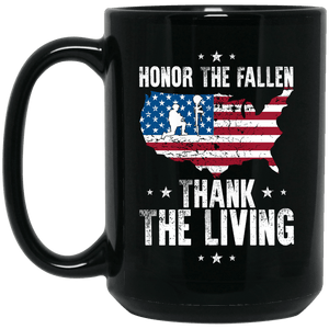 Designs by MyUtopia Shout Out:Honor The Fallen Thank The Living Memorial Day Ceramic Coffee Mug,14 oz / Black,Ceramic Coffee Mug