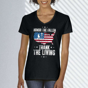 Designs by MyUtopia Shout Out:Honor The Fallen Thank The Living Memorial Day Ladies' V-Neck T-Shirt