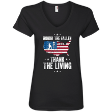 Load image into Gallery viewer, Designs by MyUtopia Shout Out:Honor The Fallen Thank The Living Memorial Day Ladies' V-Neck T-Shirt,S / Black,Ladies T-Shirts