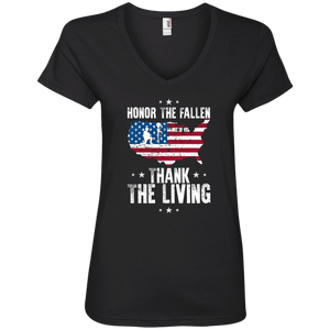 Designs by MyUtopia Shout Out:Honor The Fallen Thank The Living Memorial Day Ladies' V-Neck T-Shirt,S / Black,Ladies T-Shirts