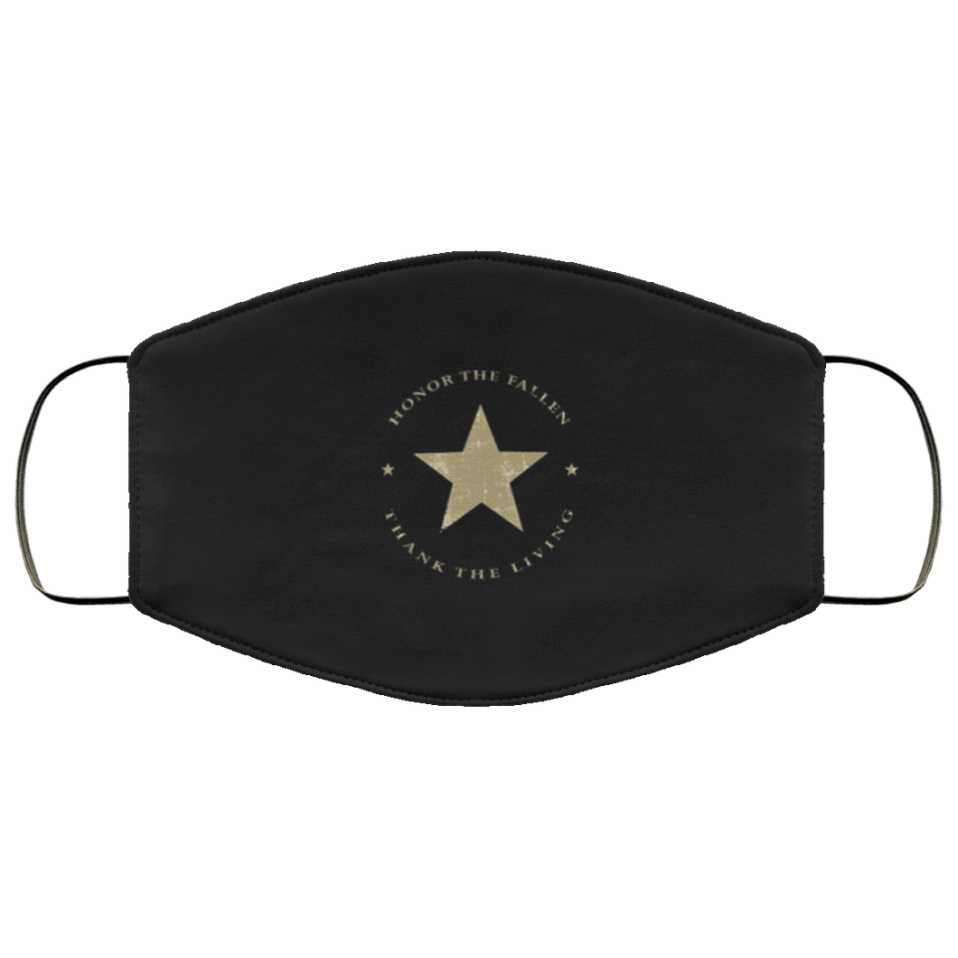 Designs by MyUtopia Shout Out:Honor The Fallen Thank The Living Star Adult Fabric Face Mask with Elastic Ear Loops,3 Layer Fabric Face Mask / Black / Adult,Fabric Face Mask