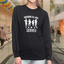 Load image into Gallery viewer, Designs by MyUtopia Shout Out:Honoring All Who Served Long Sleeve Ultra Cotton T-Shirt