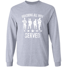 Load image into Gallery viewer, Designs by MyUtopia Shout Out:Honoring All Who Served Long Sleeve Ultra Cotton T-Shirt,Sport Grey / S,Long Sleeve T-Shirts