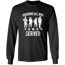 Load image into Gallery viewer, Designs by MyUtopia Shout Out:Honoring All Who Served Long Sleeve Ultra Cotton T-Shirt,Black / S,Long Sleeve T-Shirts