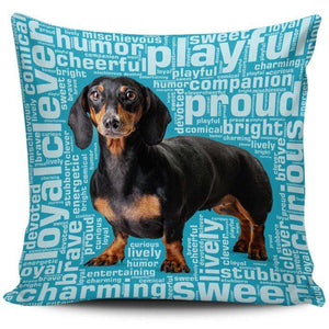 Designs by MyUtopia Shout Out:Humorous Dachshund Pillowcases,Blue,Pillowcases