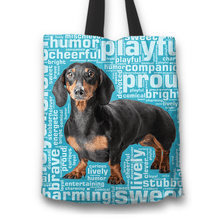 Load image into Gallery viewer, Designs by MyUtopia Shout Out:Humourous Dachshund Fabric Totebag Reusable Shopping Tote,Blue,Reusable Fabric Shopping Tote Bag