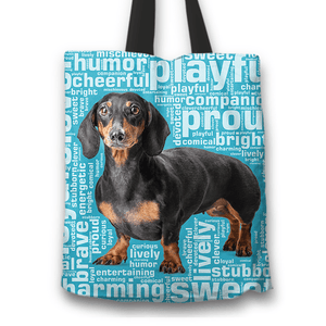Designs by MyUtopia Shout Out:Humourous Dachshund Fabric Totebag Reusable Shopping Tote,Blue,Reusable Fabric Shopping Tote Bag
