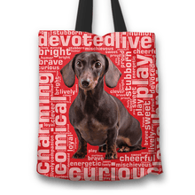 Load image into Gallery viewer, Designs by MyUtopia Shout Out:Humourous Dachshund Fabric Totebag Reusable Shopping Tote,Red,Reusable Fabric Shopping Tote Bag