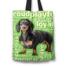 Load image into Gallery viewer, Designs by MyUtopia Shout Out:Humourous Dachshund Fabric Totebag Reusable Shopping Tote,Green,Reusable Fabric Shopping Tote Bag